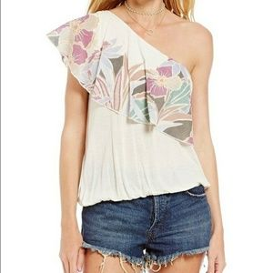 NWT Free People Annka Floral One Shoulder Blouse